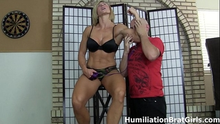 Slave worships female-dom rapture's muscles